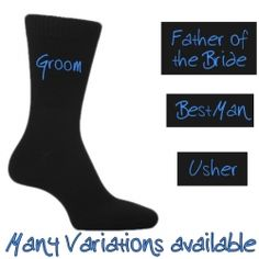 £2.50 Black Funky Font Socks - Groom, Best Man, Usher, Father of the Bride etc..