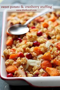 Festive and delicious stuffing made with a mixture of sweet potatoes, fresh cranberries, carrots, onions, and bread cubes.