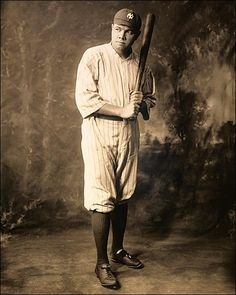 Photo of Babe Ruth in his New York Yankees baseball uniform. This full length photo portrait of famous baseball player Babe Ruth shows him posed in his Yankees pinstripes with a baseball bat in hand. CREDIT / PHOTOGRAPHER: ©RMP Archive / Anon DATE: 1920 Babe Ruth, Ruth 3, New York Yankees Baseball, Ny Yankees, Espn Baseball, Baseball Hat, Baseball Field, Yankees Baby, Baseball Necklace