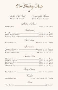 free printable wedding programs templates | The template is ...