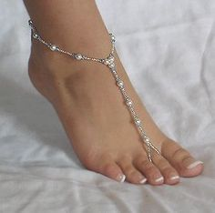 Beaded foot thongs or barefoot sandals are glamorous, sexy adornments, seen on naked feet from the French Riviera to the beaches of St. Kitts. These are REQUIRED accessories for beach weddings. Barefoot sandals are easy and inexpensive to make. Even for the novice crafter, this jewelry can be made in less than an hour. Depending on the beads you select, a pair of these barefoot sandals may cost less than $3
