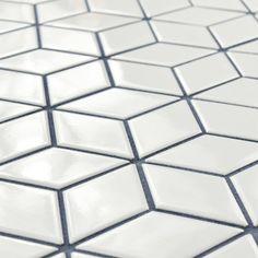 Merola Tile Metro Rhombus Glossy White Porcelain Mosaic Tile - 3 in. x 4 in. Tile Sample at The Home Depot - Mobile Mosaic Wall, Mosaic Tiles, Wall Tiles, Splashback Tiles, Porcelain Tile, White Porcelain, Rhombus Tile, Stone Tiles, Retro