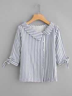 Preppy Button and Knot Striped Shirt Regular Fit Collar Half Sleeve Navy Vertical Striped Tie Cuff Blouse Source by daydaychic Blouses Kurta Designs, Blouse Designs, Blouse Styles, Collar Styles, Dress Patterns, Blouses For Women, Ladies Blouses, Designer Dresses, Fashion Dresses
