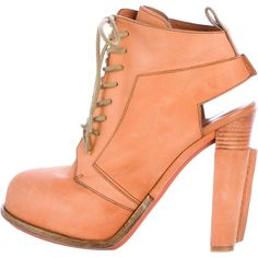 Pre-owned Alexander Wang Leather Lace-Up Booties ($125) ❤ liked on Polyvore featuring shoes, boots, ankle booties, orange, orange boots, round toe boots, laced booties, lace up ankle booties and alexander wang booties