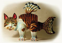 Tabby Cat Christmas Sculpture Christmas Gift Gift by 3StreetArt