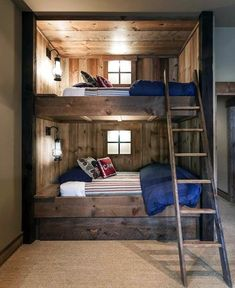 RUSTIC BEDROOM DESIGN IDEAS - Locate your favored bedroom pictures below. Check out images of motivating bedroom design ideas to create your perfect house. Rustic Bunk Beds, Modern Bunk Beds, Rustic Bedrooms, Modern Bedroom, Loft Beds, Contemporary Bedroom, Trendy Bedroom, Trundle Bunk Beds, Pallet Bunk Beds
