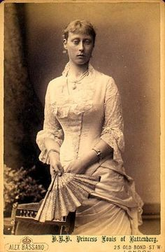 Grandchild of Queen Victoria - Princess Victoria of Hesse and by Rhine (1863 – 1950) was the eldest daughter of Louis IV, Grand Duke of Hesse and by Rhine (1837–1892), and his first wife Princess Alice of the United Kingdom (1843–1878), daughter of Queen Victoria and Prince Albert of Saxe-Coburg and Gotha. Married Prince Louis of Battenberg, later Marquess of Milford Haven