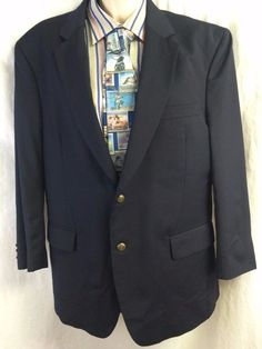 Jos A Bank Sports Coat 43R Composition Navy Blue Two Button 100% Wool Vented #JosABank #TwoButton