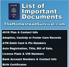 list1 zps139d9959 List Of Important Documents   Emergency Preparedness