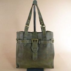 $344 Olive Leather Tote Handbag via boutiika.com