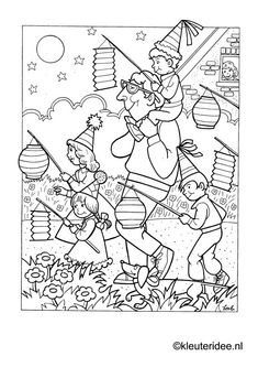 family, parade, lanterns, children, coloring page People Coloring Pages, Colouring Pages, Coloring Pages For Kids, Coloring Sheets, Coloring Books, Kindergarten Crafts, Color Activities, Paper Lanterns, Pattern Art