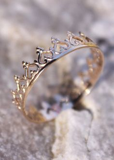 14K Solid Gold Crown Ring, Princess Ring