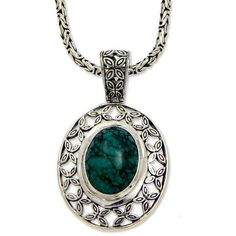 NOVICA Sterling silver pendant necklace (1.810 VEF) ❤ liked on Polyvore featuring jewelry, necklaces, pendant, reconstituted turquoise, sterling silver butterfly pendant, pendant chain necklace, butterfly wing jewelry, oval pendant necklace and pendants & necklaces