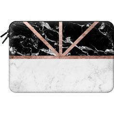Macbook Sleeve - Modern white marble color block rose gold stripes by... (59…