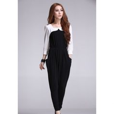 Cheap Wholesale Women's Hottest Square Neck Crumple Chiffon Splicing 3/4 Sleeve Jumpsuit (BLACK,S) At Price 13.48 - DressLily.com