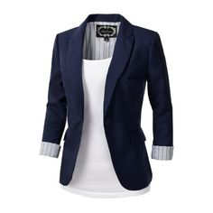 9XIS Womens Tailored Boyfriend Blazer Jacket: Amazon.co.uk: Clothing (€12) ❤ liked on Polyvore featuring outerwear, jackets, blazers, tops, casacos, boyfriend blazer, tailored jacket, blue blazer, tailored blazer and boyfriend jacket