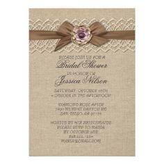 Romantic Lace Floral Burlap Ribbon Shower Invite