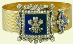 A Gold Bracelet with a Diamond and Enamel Buckle Garrard & Co., 1830 The Royal Collection This beautiful bracelet of gold, diamonds and. Royal Crown Jewels, Royal Crowns, Royal Tiaras, Royal Jewelry, Tiaras And Crowns, Gold Jewellery, Jewlery, Princess Alexandra Of Denmark, Antique Jewelry