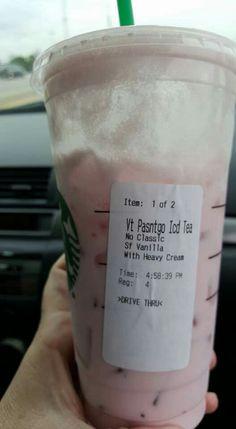 Starbucks unsweetened passion fruit tea, hwc and sf vanilla syrup. Tastes like strawberry milk shake