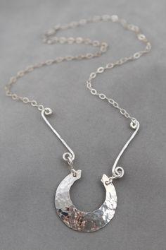Crescent with Side Bars Necklace, Handcrafted Jewelry by JenniferEngelDesigns on Etsy https://www.etsy.com/listing/174960970/crescent-with-side-bars-necklace