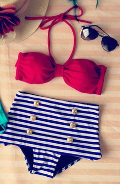 """Cute nautical bakini  Padded,+interchangeable+top. No+underwire. Fits+Small-Large+body+frames.+ Bust:+Fits+up+to+36C+ Bottom:+Fits+up+to+30""""+(waist)  Ships+within+3-4+weeks.  For+hygiene+safety+reasons+I+DO+NOT+accept+returns+or+exchange.+ All+sales+are+FINAL!"""