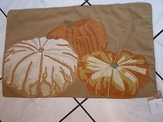 "NWT Pottery Barn New Pumpkin Patch Embroidered Lumbar Pillow Cover 16"" x 26"""