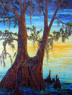 Twin Cypress  Original impasto style oil painting by StaceyFabre, $3024.00. Local Houma artist.