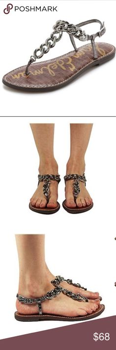 Sam Edelman Grella Chain T-Strap Sandals Excellent condition, worn once! Metallic (pewter) faux leather and bold curb-chain links give these Sam Edelman sandals a luxe look. Buckle closure. Synthetic sole. Actual pics to follow. Sam Edelman Shoes Sandals