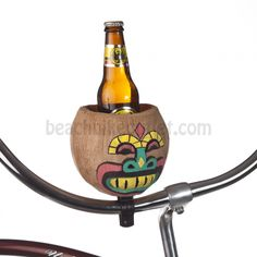 Not just for a bottle, works well for a can! Stay thirsty, our friends. Coconut Cup Holder Green Nose | Beach Bike Outlet