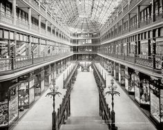 """The Arcade. Cleveland, Ohio. 1900. In the 1980's my mom would take us out of school for Christmas shopping and lunch """"downtown""""."""