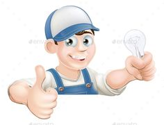 Electrician Giving Thumbs Up by Krisdog An illustration of a cartoon electrician giving a thumbs up and holding a light bulb
