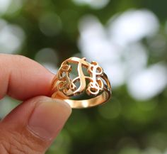 Initial Monogram Ring - Personalized Gifts - Mother Day Gifts - Sterling Silver / 18K Gold Plated