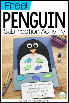 This penguin subtraction craft and penguin math activity are the perfect subtraction activities addition to any kindergarten penguin unit! Subtraction Kindergarten, Subtraction Activities, Kindergarten Math Activities, Addition Games For Kindergarten, Numeracy, Math Crafts, Penguin Songs, Penguin Craft, Artic Animals