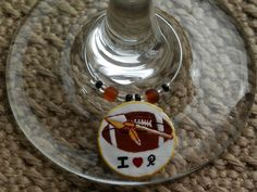Football charms from Della Casa Collection. Place your custom made order of wine charms on Della Casa Collection via Facebook.
