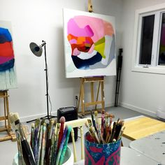 Last night, I burned the midnight oil in my #studio. Felt great to be working on a few pieces that had been left unfinished for the longest time! #clairedesjardins #artiststudio #clairedesjardinsart #originalartwork