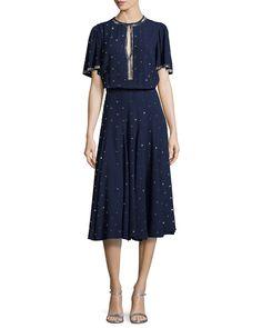 Michael Kors Studded Detail Midi Dress, Indigo