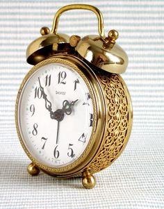 Vintage Brass Twin Bell Wind Up Alarm Clock. Beautiful Filigree detail. German.