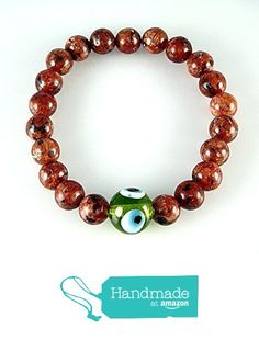Red Brown Jade Stone with Green Evil Eye Amulet Round Beads Stretch Bracelet Medium Size 6.8'' from echmeck https://www.amazon.com/dp/B01MU2NPQO/ref=hnd_sw_r_pi_dp_vptyzbN6VE808 #handmadeatamazon
