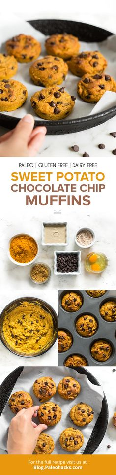 Sweet Potato Chocolate Chip Muffins Whip up moist, chocolate chip-studded sweet potato muffins for the perfect on-the-go treat or afternoon snack. Paleo Breakfast, Breakfast Recipes, Snack Recipes, Dessert Recipes, Muffin Recipes, Free Recipes, Paleo Dessert, Gluten Free Desserts, Healthy Desserts