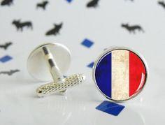 Boutons de manchette France faits à la main  - Boutons de manchette en métal argenté, bronze ou black gun - Cabochon en verre de 16mm - Impression HD - Etanche mais non waterproof - Expédié dans sa boîte originale - Fait sur commande