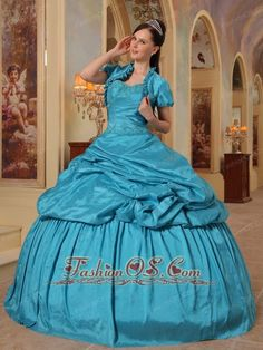Elegant Teal Quinceanera Dress Sweetheart Taffeta Beading Ball Gown  http://www.fashionos.com    Vintage-inspired dress make you like princess!This one features a pretty strapless bodice with a sweetheart neckline and little cute jacket with short lace sleeves worn over the top. The bust and wasit are embellished with embroidery. The multi-tiered skirt features ruching for added detail, but still maintains its vintage A-line style. Such a feminine dress for any outing.