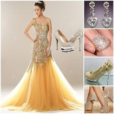 Gorgeous evening dress,will u wanna to try? #PromDress #PartyDress #Heels #Earrings #Ring #Fashion #FreshFashion