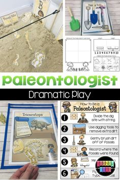 Roaring Dinosaur Preschool Activities Paleontologist / Dinosaur Dig Dramatic Play with instructions, research books, fact sheets, signs, and more! Perfect way to learn through play during your preschool dinosaur theme! Dinosaur Theme Preschool, Dinosaur Facts, Dinosaur Play, Dinosaur Activities, Science Activities, Dinosaur Exhibit, Dinosaur Alphabet, Science Centers, Play Based Learning