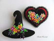 colorful witch hat and heart