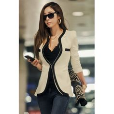 USD12.49Cheap Casual Style Long Sleeves Patchwork White Blazer