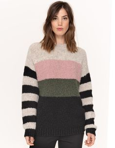 Jersey de rayas de colores Boutique, Men Sweater, Pullover, Knitting, Irene, Sweaters, Fashion, Color Streaks, Full Sleeves