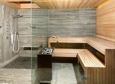 Cozy Sauna Shower Combo Comforting Your Bathe Activities: Beautiful Design Of Sauna Shower Combo With Tile Flooring And Pebble Stone Tile Also Wood Tile With Shower Bench And Rain Shower Plus Glass Door. Kieselsteine im Duschbereich der Sauna.