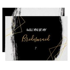 32d9eef19 Modern Black   Gold Watercolor Geometr Bridesmaid Invitation