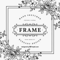 Marco de flores blanco y negro vintage Vector Premium