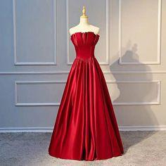 Red party dress strapless evening dress backless long prom dress satin formal dress